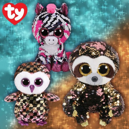 Ty Toys Flippables (Choose From Multiple Sizes) Zoey The Sequin Pink Zebra Sequins Soft Toys