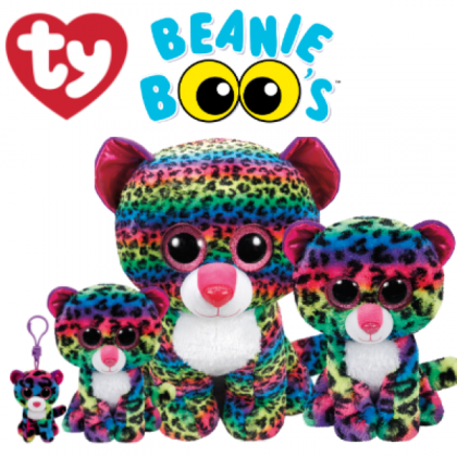 Ty Toys Beanie Boos (Choose From Multiple Sizes) Dotty The Multicolored Leopard Soft Toys