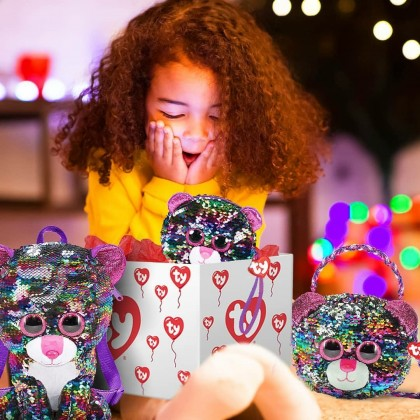 Ty Fashion - Dotty the Multicolor Leopard Sequins Backpack