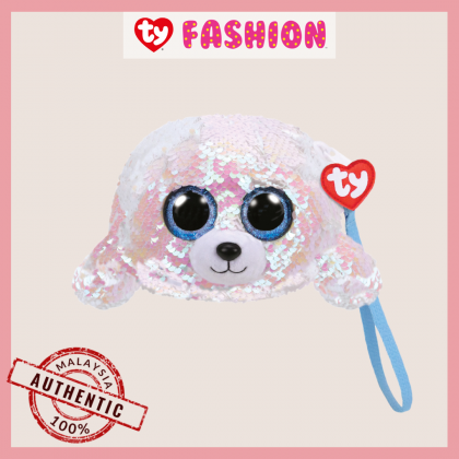 Ty Fashion (Malaysia Official)  Sequins Wristlet  Icy the White Seal