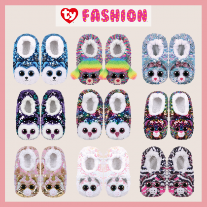 Ty Footwear (Malaysia Official) | Sequin Slipper Socks (Small, Medium & Large) | Dotty the Multicolor Leopard