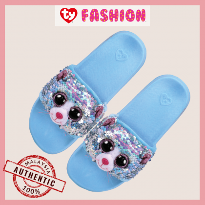 Ty Footwear (Malaysia Official)  Sequin Slides (Small, Medium & Large) | Whimsy the Iridescent Cat