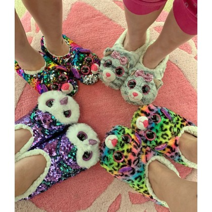 Ty Footwear (Malaysia Official) | Sequin Slipper Socks (Small, Medium & Large) | Whimsy the Iridescent Cat