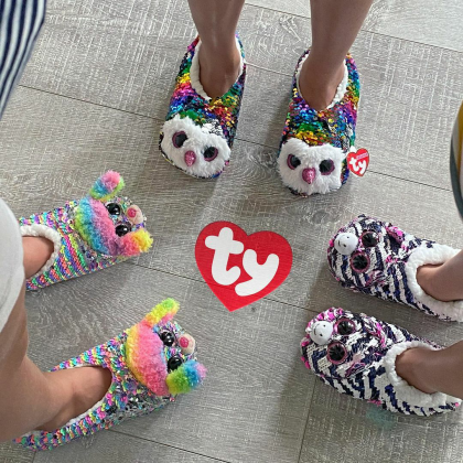 Ty Footwear (Malaysia Official)   Sequins Slipper Socks (Small, Medium & Large)   Fantasia the Pink Unicorn