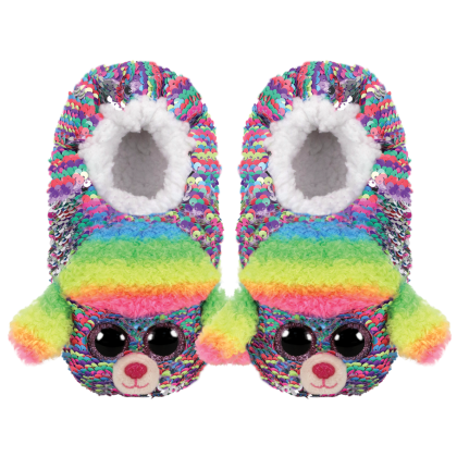 Ty Footwear (Malaysia Official) | Sequin Slipper Socks (Small, Medium & Large) | Rainbow the Multicolor Poodle