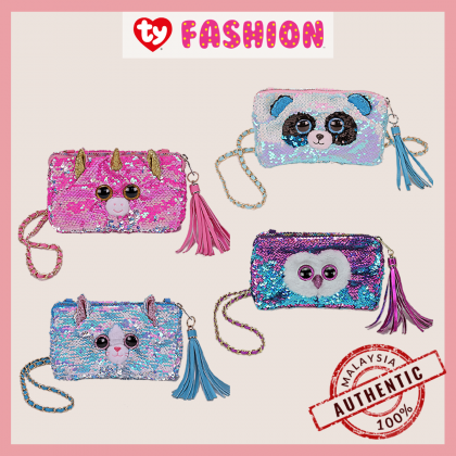Ty Fashion | Sequins Square Purse | Whimsy the Iridescent Cat