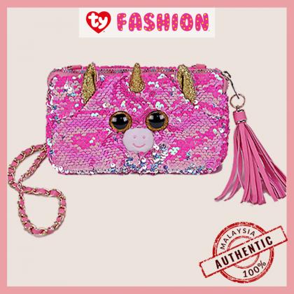 Ty Fashion   Sequins Square Purse   Fantasia the Pink Unicorn