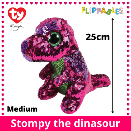 Ty Toys Flippables (Choose From Multiple Sizes) Stompy The Sequin Pink Purple Dinosaur Sequins Soft Toys