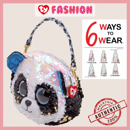 (100% Original) Ty Fashion | Sequins 3-Braided Sling Purse | Bamboo The Panda | Accessories Bags Gift Idea for Girls Kids