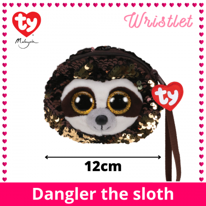 (100% Original) Ty Fashion | Sequins Wristlet | Dangler The Sloth | Accessories Bags Gift Idea for Girls Kids