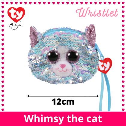 (100% Original) Ty Fashion | Sequins Wristlet | Whimsy The Blue Iridescent Cat | Accessories Bags Gift Idea for Girls Kids